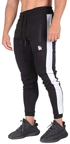 YoungLA Skinny Mens Joggers | Tapered Gym Pants | Slim Fit Track Sweatpants | Side Stripes and Pockets 211