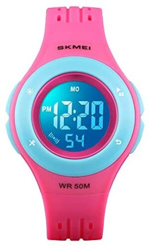 YxiYxi Kids Watch Digital Waterproof for Girls Boys Toddler Cute Sport Outdoor Multifunctional Watches with Luminous Alarm Stopwatch 7 Colorful LED Wrist Watch for 3-10 Year Little Child