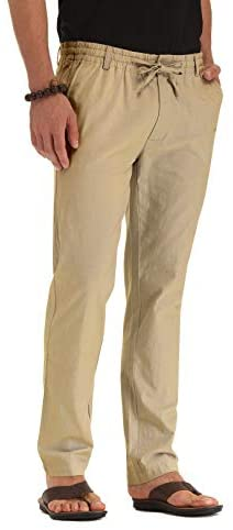 ZYFMAILY Men's Casual Beach Trousers Linen Summer Pants with Drawstring