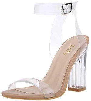 ZriEy Women's Clear Block Heels Ankle Strap Sandals Adjustable Buckle Lucite Chunky High Heel Shoes