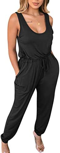 cailami Women's Sexy Sleeveless Scoop Neck Elastic Waist Loose Casual Jumpsuit Rompers with Pockets