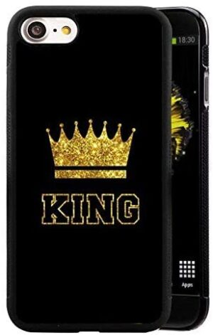 for iPhone 7/ iPhone 8 Case King Queen Best Friend Lovers Couple Slim Fit Black Cell Phone Accessories Queen & King Design Soft TPU Protective iPhone 7/8 Cases (King for iPhone7/8)