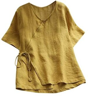 iHHAPY Women's Linen Blouse Loose Tops Classic Vintage T-Shirt Chinese Shirts V-Neck Tunic Solid Color Blouses