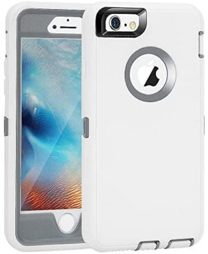 """iPhone 6 Plus/6S Plus Case, Maxcury Heavy Duty Shockproof Series Case for iPhone 6 Plus/6S Plus (5.5"""") with Built-in Screen Protector Case Cover (White/Gray)"""