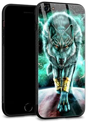 iPhone 6S Plus Case,iPhone 6 Plus Cases Tempered Glass Back Shell Cool Pattern Designed with Soft TPU Bumper Case Fashion for Boys Men Apple iPhone 6/6S Plus Cases -Wolf King