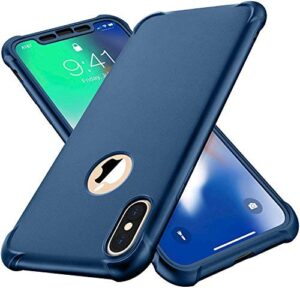 iPhone Xs Max Case,with[2 x Tempered Glass Screen Protector] ORETech 360° Full Body Shockproof Protective Cover Anti Scratch Ultra Thin Hard PC Soft Rubber Silicone Case for iPhone Xs Max- Blue