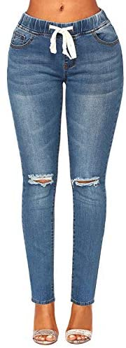luvamia Women Elastic Waist Jegging Stretch Jeans Ripped Distressed Vintage Jeans