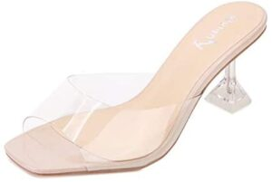 vivianly Womens Clear Peep Toe Sandals Stiletto Heels Slip on Heeled Mules Slipper Backless Dress Shoes