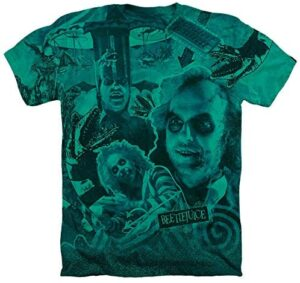 Beetlejuice Three Times The Charm Unisex Adult Sublimated Heather T Shirt for Men and Women