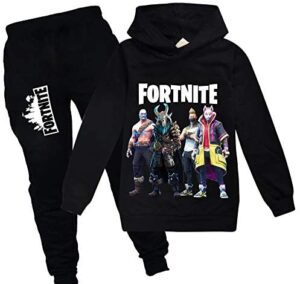 Boy and Girls Fortnite Pullover Hoodies and Sweatpants Suit, Teen Hooded Sweatshirt Suit For Kids
