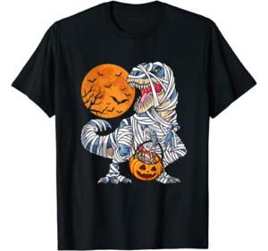 Halloween Shirts for Boys Kids Dinosaur T rex Mummy Pumpkin T-Shirt