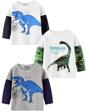 Miss Bei Toddler Boys' 3-Pack Long Sleeve T-Shirt Tees Tops Cotton Kids Tractors Shirts