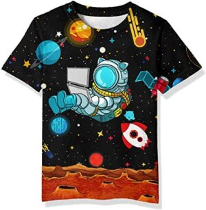 Neemanndy Teens Boys Girls Shirts 3D Print Colorful Design Graphic Tee Shirt with Short Sleeve for Kids 6-16 Years