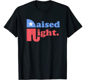 Raised Right Republican Elephant Retro Style Distressed Gift T-Shirt