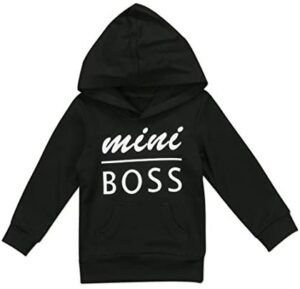 0-5T Baby Boy Girl Mini Boss Hoodie Tops Toddler Hooded Sweater Casual Hoodies with Pocket Outdoor Outfit