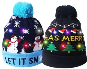 2 Pack LED Light Up Hat Beanie Knit Cap,with 6 Colorful Lights LED Xmas Christmas Hat Beanie, Unisex Winter Snow Hat Sweater Ugly Holiday Hat Party Beanie Cap