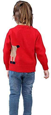 Shineflow Unisex Kid's Rudolph Reindeer Red Nose Ugly Christmas Sweater Jumper