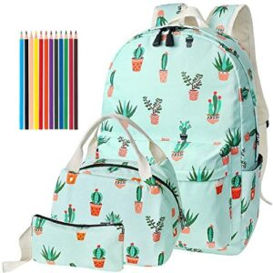 Kids School Backpacks for Girls, 4 in 1 Set Teen Bookbag Lunch Bag Pencil Case Colored Pencil (Cactus Green)