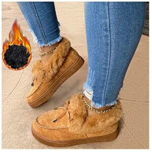 LAIDAN Casual Fashion Flat Boots with Fur Lined for Women, Winter Warm Booties Anti-Slip Thermal Shoes Comfortable Moccasins Snow Boots, Cold Weather Furry Slippers Men Plush Sneakers