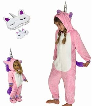 MY GENIUS DOLLS Unicorn Matching Onesie Pajamas and Sleepmasks - Fits Girl and 18 inch Doll Like American (Doll Not Included)