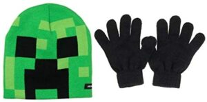 Minecraft Creeper Face Kids Beanie Hat Cap and Gloves Set New Green