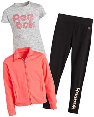 Reebok Girls' Activewear Set with T-Shirt, Leggings, and Tricot Jacket (3-Piece)