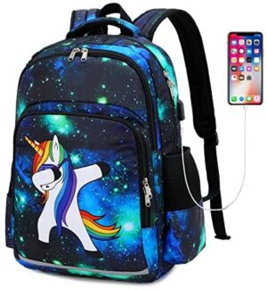 School Backpacks for Boys and Girls Galaxy Bookbag College fit 15inch Laptop Backpack with USB Charging Port (Galaxy Navy blue)
