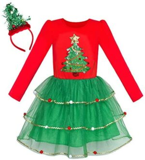 Sunny Fashion Girls Dress Christmas Santa Hat Long Sleeve Party Dress Size 6-12