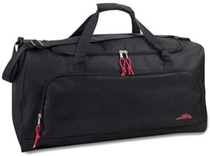 55 Liter, 24 Inch Lightweight Canvas Duffle Bags for Men & Women For Traveling, the Gym, and as Sports Equipment Bag / Organizer (Black 2)