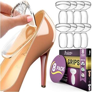 8 Extra Soft Heel Grips for Womens Shoes [Heel Blister Prevention] Gel Heel Cushion Inserts for Women Shoes, Self-Adhesive and Shock Absorbing Pads, Add Extra Volume for Loose Shoes