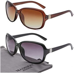 Madison Avenue 2 Pack Classic Vintage Sunglasses for Women, Fashion Sun Glasses with UV400 Protection