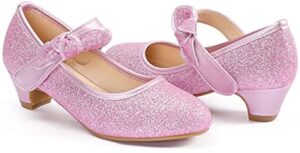 ADAMUMU Girls Dress Shoes Princess High Heel Mary Jane Glitter Shoes in Wedding Party for Toddler Little Big Girl with Bowknot Flower Velcro