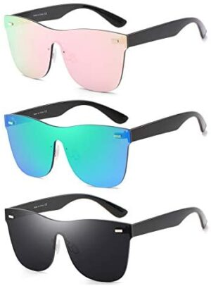 Rimless Mirrored Lens One Piece Sunglasses UV400 Protection for Women Men