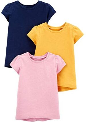 Simple Joys by Carter's Toddler Girls' 3-Pack Solid Short-Sleeve Tee Shirts