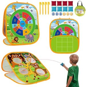 3 in 1 Bean Bag Toss Game Set for Kids, Outside Toys for Kids Toddlers Ages 3-5 4-8 4-7, Collapsible Cornhole and Dart Board with 8 Bean Bags, Birthday Gift for Boys Girls
