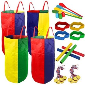 4-8 Player Potato Sack Race Bags Backyard Games for Kids and Adult, Field Day Birthday Party Outdoor Games for Kids Family,Carnival Games,Egg and Spoon Race,3 Legged Race,Relay Batons,Game Prizes