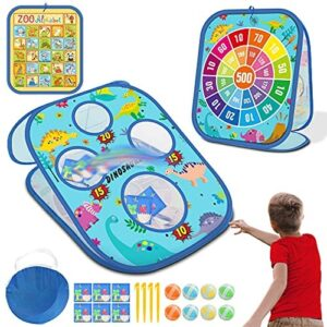 4 in 1 Bean Bag Toss Game Toy, Multifunctional Game Dart Board with 8 Sticky Balls Bean Toss Game with Collapsible Double Cornhole Toy for Toddlers Kids Ages 2-8 Year Old Outdoor Toys As Birthday Gift