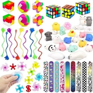 49 Pack Kids Party Toys, Party Favors Bundle, Party Supplies Kit, Mochi Squishies, Slap Bracelets for Birthday Party, Classroom Rewards, Carnival Prizes, Pinata Filler, Treasure Box, Goody Bag Filler