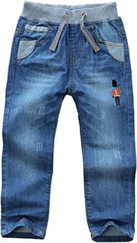 Cromoncent Kids Boy's Drawstring Jeans with Pockets