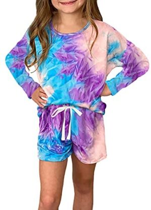 Ecokauer Girls Kids Summer Short Sleeve Rompers One Piece Jumpsuits with Tie Dye Print Fashion Outfits