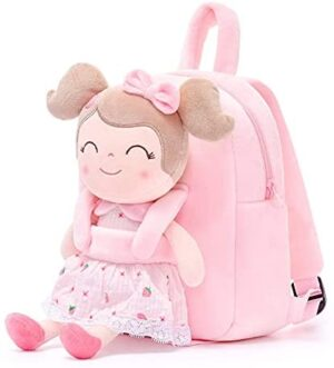 Gloveleya Kids Backpack for Girls backpacks Plush bag with Soft doll for Toddler baby Strawberry 9 Inches
