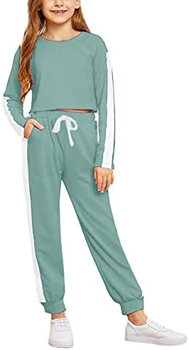 Imily Bela Girls Active Jogger Sets 2 Piece Striped Tracksuit Crop Tops and Sweatpants Outfits Sweatsuits