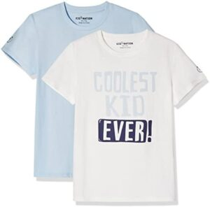 Kid Nation Kids Unisex 2 Packs Crew Neck Solid and Graphic T Shirts & Pajams Sets for Boys or Girls 4-12 Years