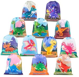 Mocoosy 12 Pack Dinosaur Party Supplies Favor Bags - Dinosaur Drawstring Bags for Kids Birthday Gift Bags, Dino Goodie Candy Treat Bags for Boys Girls Dinosaur Themed Birthday Party Baby Shower