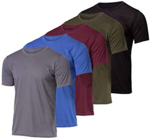 Real Essentials 5 Pack: Youth Mesh Moisture Wicking Active Athletic Performance Short-Sleeve T-Shirt Boys & Girls