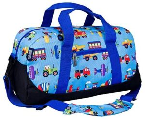 Wildkin Kids Overnighter Duffel Bags for Boys & Girls, Measures 18 x 9 x 9 Inches Duffel Bag for Kids, Carry-On Size & Ideal for School Practice or Overnight Travel, BPA-free (Trains, Planes & Trucks)