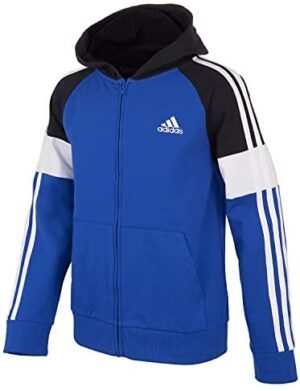 adidas Boys' Zip Front Blocked French Terry Hooded Jacket