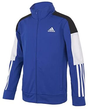 adidas Boys' Zip Front Colorblock Tricot Jacket