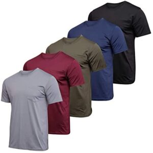 5 Pack: Boys Girls Youth Kids Teen Active Athletic Performance Crew Neck Dry-Fit Pocket T-Shirts