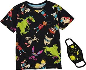 Nickelodeon Rugrats, Hey Arnold, All That Boys Short Sleeve T-Shirt Bundle with Face Mask